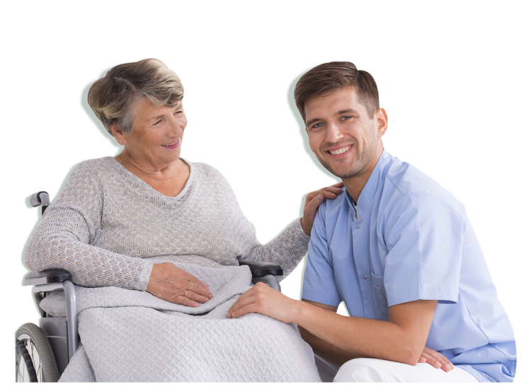 Positive senior woman on a wheelchair and smiling male nurse